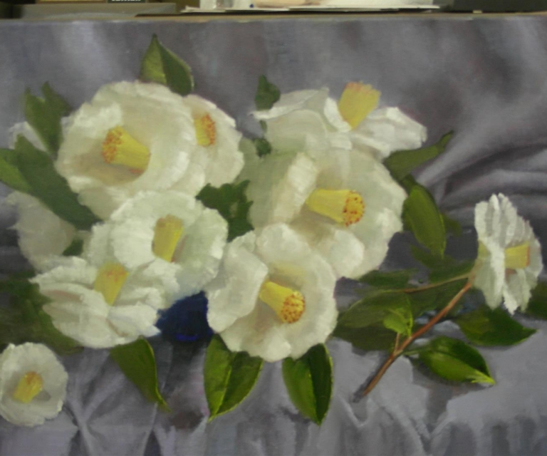 Camelias on grey 50 x 75 cm