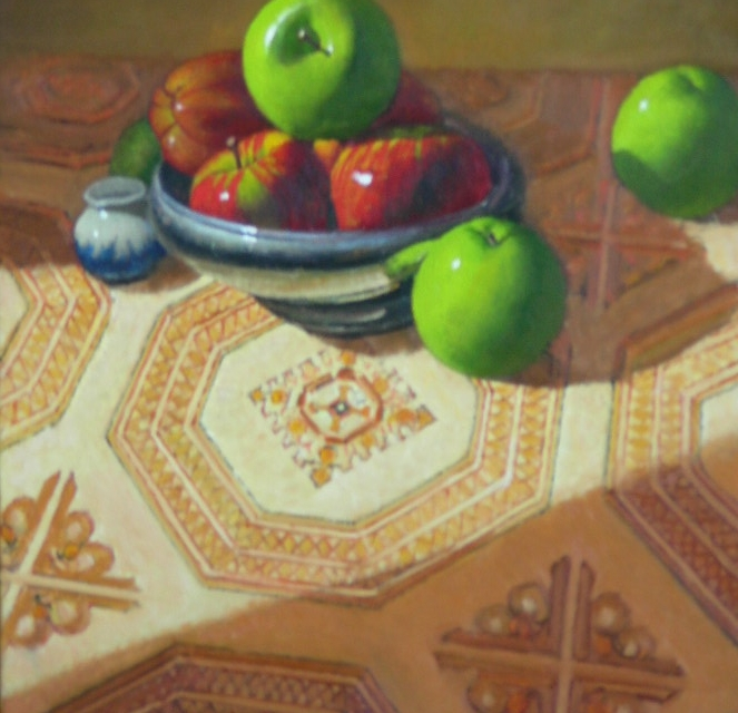 Persian rug with apples